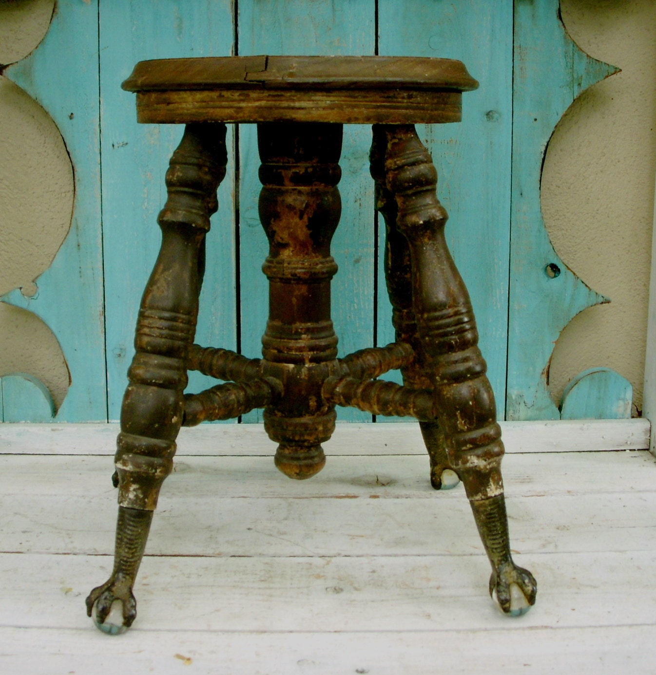 ?zoom & Antique Wooden Stool Glass Claw Feet Piano Bench Chair islam-shia.org