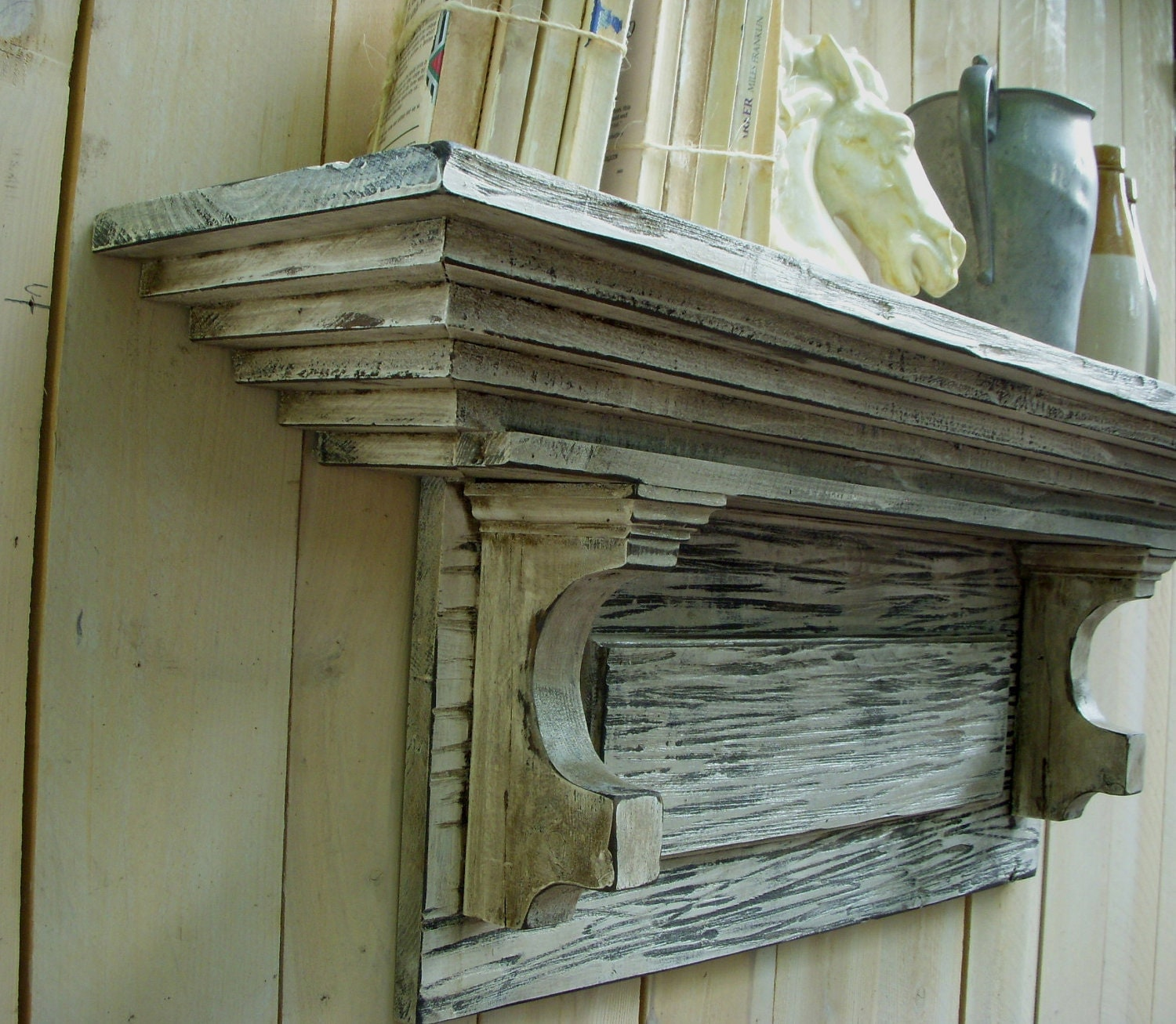 Distressed Shelf French Country Shabby Mantle Shelf