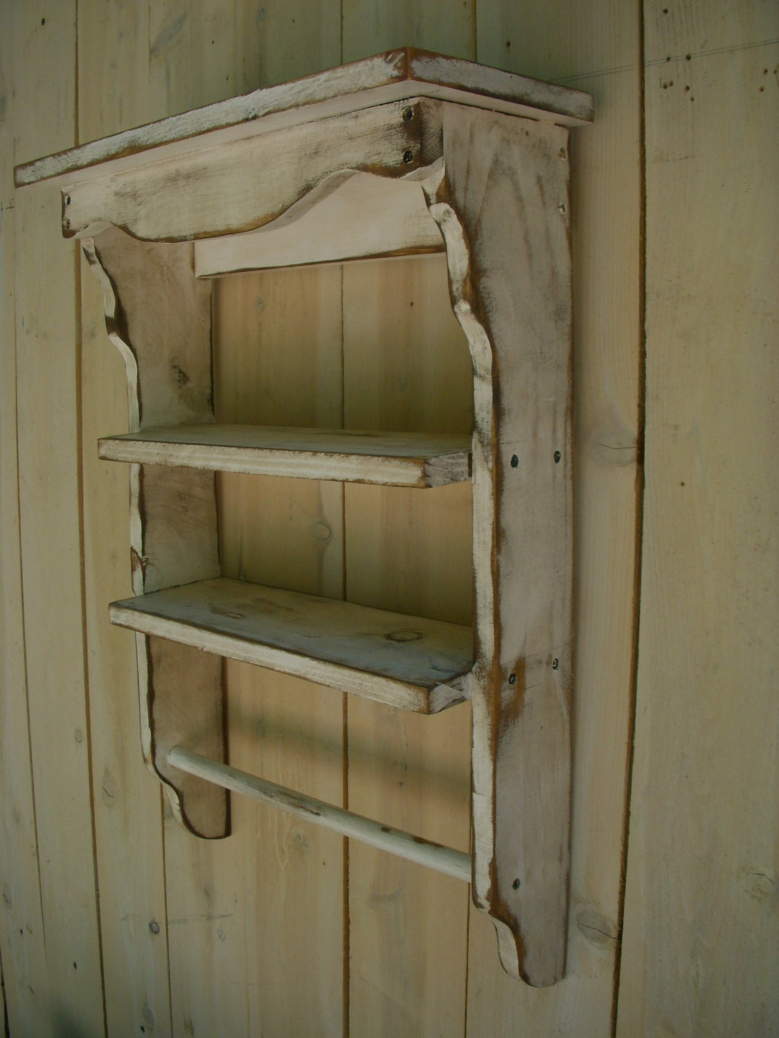Rustic Home Decor Distressed Wooden Shelf Towel Holder