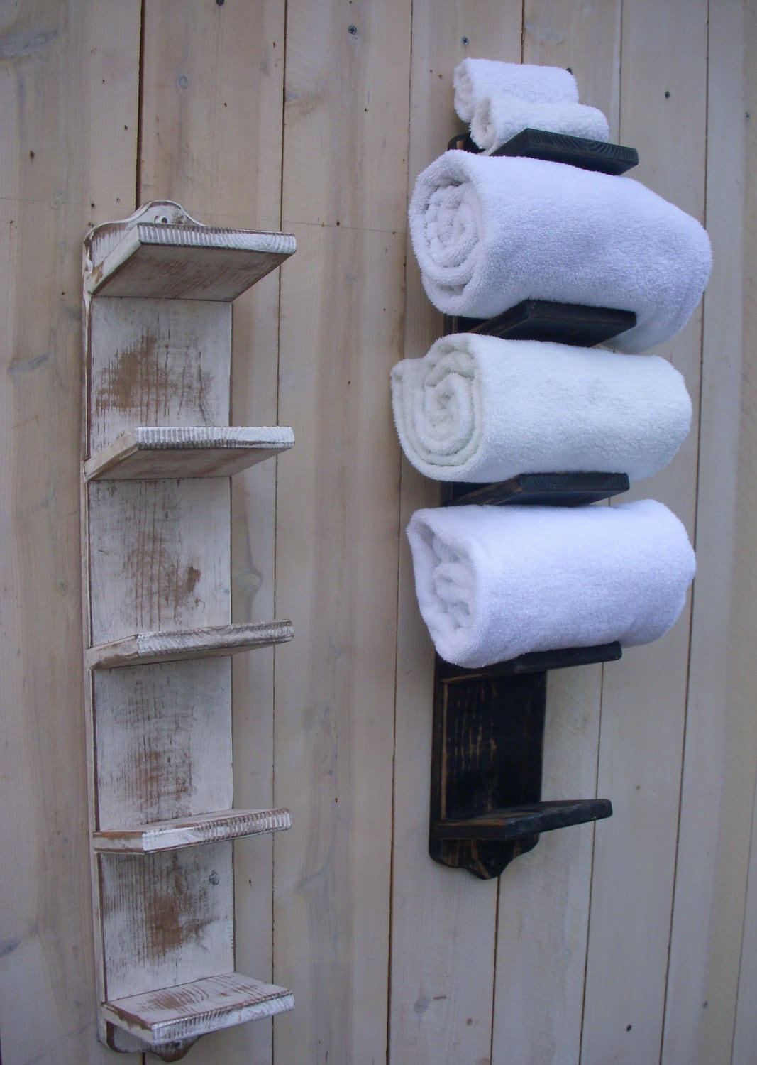 Decorative Bathroom Towel Storage : Handmade towel holder rack bath decor wood shabby