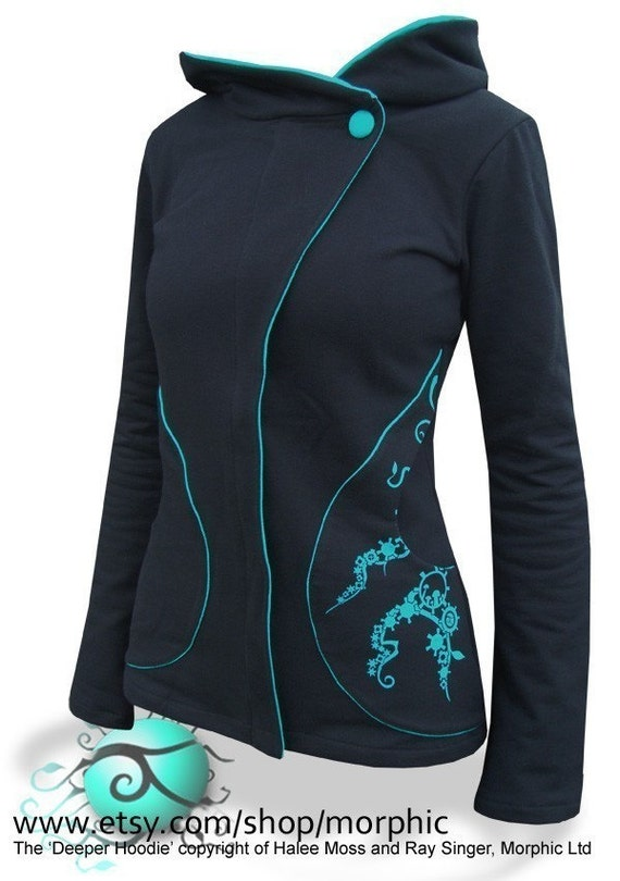 Womens Deeper Zip Hoodie - Black with Turquoise - Cogs Print - Sizes 8, 10, 12, 14, 16, 18, 20, 24 - FREE SHIPPING