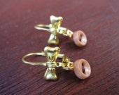 Pink-Tan Buttons/Brown Thread Brass Earrings
