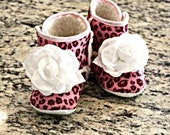 Boutique Leopard Baby Girl Booties Pink Boots Little Girl's Shoes White Flower Non Skid Newborn Infant to Children 18 Months