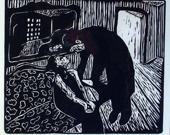 Encounter in a Room - Woodcut