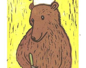 Bear Cooking - Linocut Reduction Print