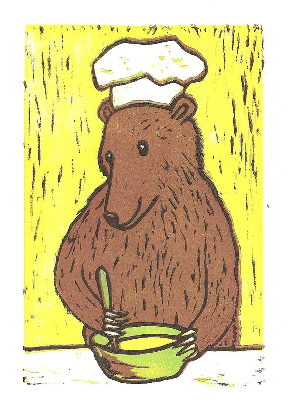 Bear Cooking - Linocut Reduction Print