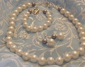 Pearl Jewelry Set Necklace Earrings and Bracelet