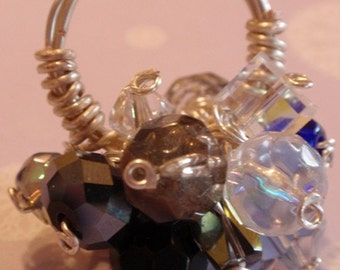 Crystal Beaded Wire Wrapped Bubble or Cluster Ring