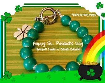 Irish Shamrock Charm Kelly Green Beaded and Silver plated Bracelet