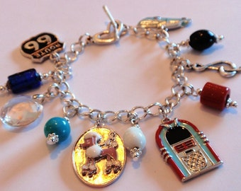 Charm Bracelet with 1950 Style Charms Unique and Fun