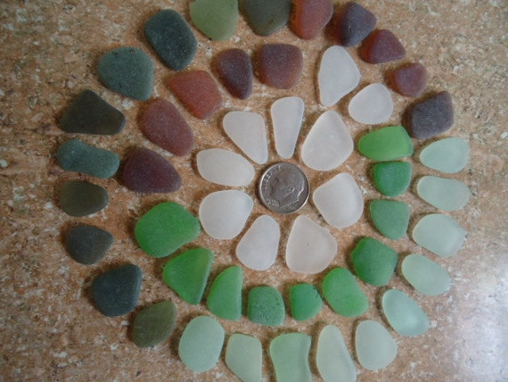 Genuine Pure Sea Glass Beach Surf Tumbled White Green Sea Foam Olive seaglas 50