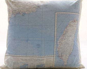 Silk aviator Map cushion (Hong Kong)