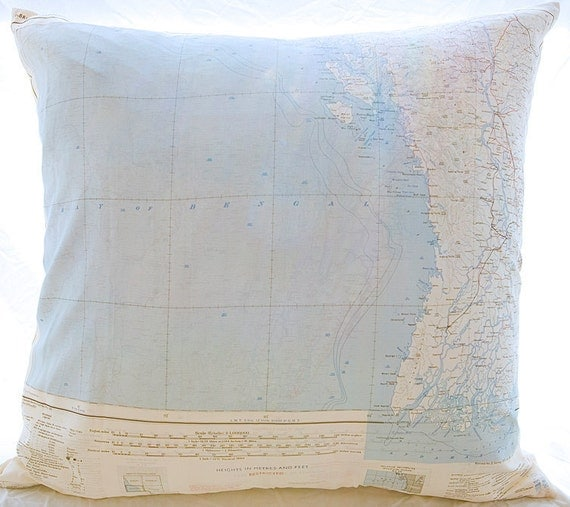 Silk Aviator Map Cushion (Irawaddy-Bay of Bengal)