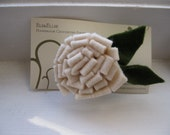 Ivory Felt Flower Pin- Great Stocking Stuffer-