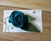 Turquoise Rolled Rosette Felt Flower Pin- Great Stocking Stuffer