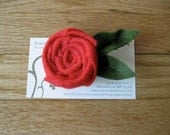 Red Rolled Rosette Felt Flower Pin