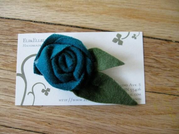Turquoise Rolled Rosette Felt Flower Pin- Great Stocking Stuffer