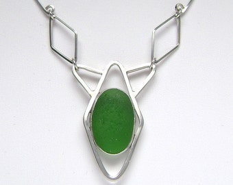SALE!!  Sea Glass Jewelry - Sterling Green Sea Glass Necklace with Handmade Chain