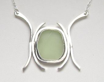 SALE! - Sea Glass Jewelry  - Sterling UV / Vaseline Sea Glass Necklace