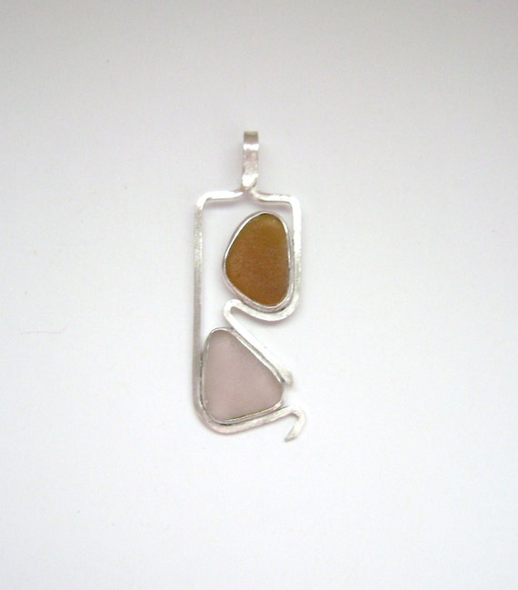 Sea Glass Jewelry - Sterling Brown and Rare Pink Sea Glass Pendant