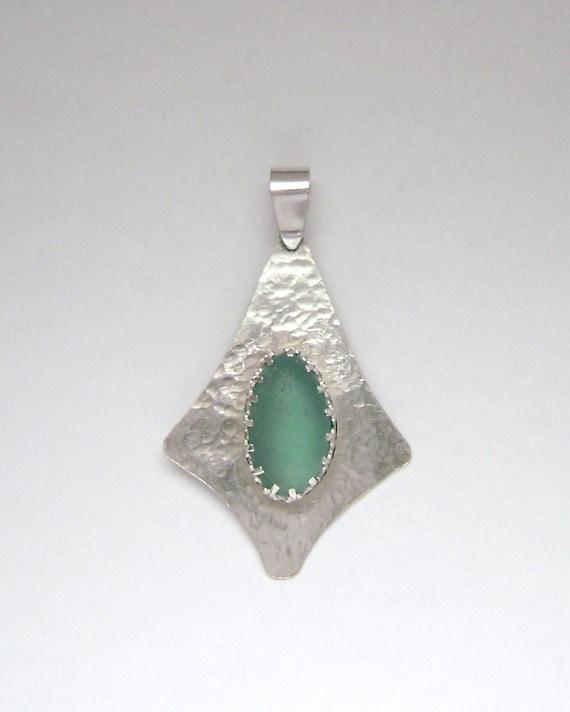 Sea Glass Jewelry - Sterling Aqua Sea Glass Pendant