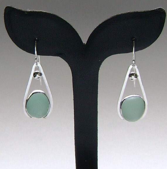 Sea Glass Jewelry - Sterling Aqua Sea Glass Earrings