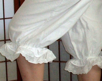 Bloomers Pantaloons Womens XSm - XLg Cotton Flannel Eyelet Lace Custom Made