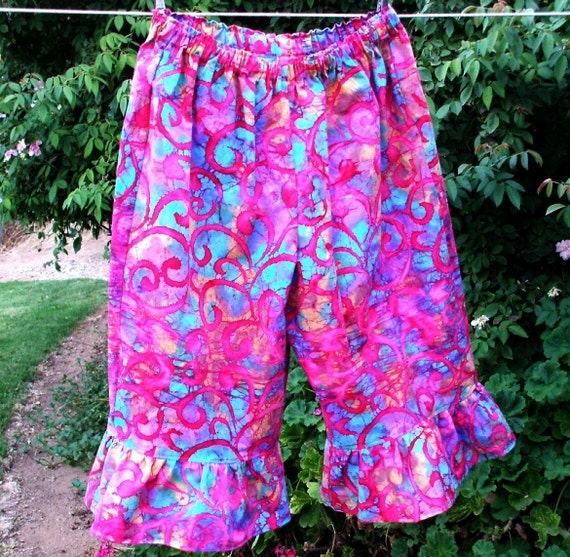 Summer SALE Pink Batik Bohemian Pants Ruffle One Size Medium to Large Capri