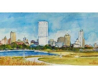Plein Air Milwaukee Skyline Watercolor 8x10 Print