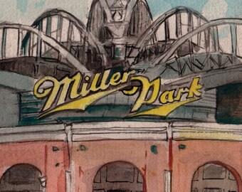 Miller Park Stadium Facade, Milwaukee, Wisconsin Watercolor Art Print by James Steeno