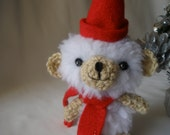 Christmas White Teddy Bear with Red Scarf and Hat Amigurumi Art Toy