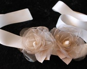 Wedding Flower Sash Belt Bridal Sash Set of Two Roses Cream/Ivory for your Wedding