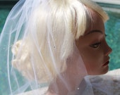 "Wedding Veil - Short, 18""  Tulle Shoulder Length Swarovski Rhinestone Crystals, White, Diamond White, Pink , Ivory, Many Colors"