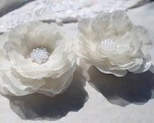 Bridal Ivory Hair Fascinator Flower Set  of Two Hair Clip  for your Wedding