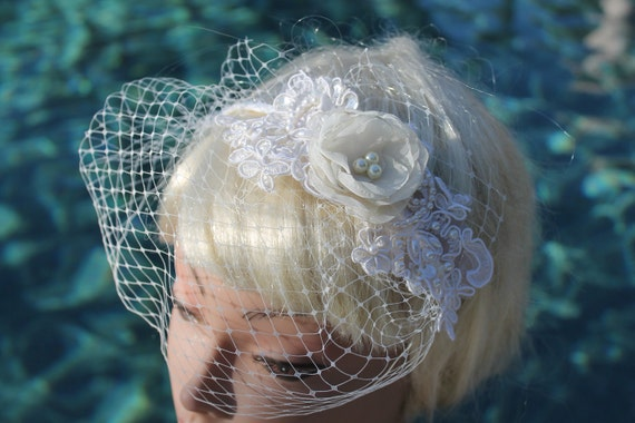 Bridal Mini  Blusher Birdcage Veil  Lace and Pearls Flower Headband for your Wedding