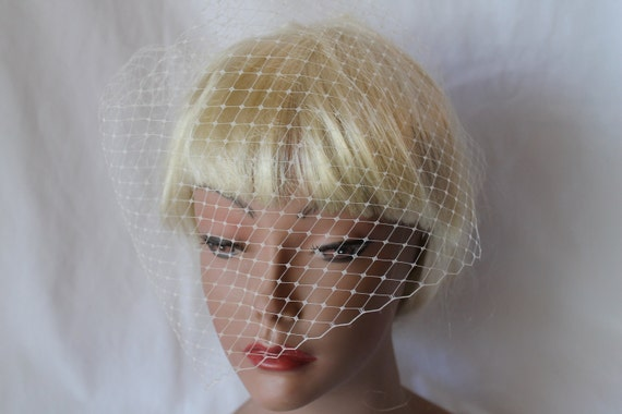 Bridal Ivory Mini  Birdcage Blusher 12' Russian Net Veil for your Wedding