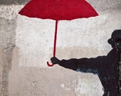 Paris Photo, Paris Decor, Paris Photography, Paris Streets, Urban Fine Art Print, Travel Photography - The Red Umbrella