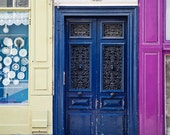 Bright Blue Paris Door Photography, Montmartre Paris, Travel Photography, Urban Decor - Montmartre Colors (8x10) - MelanieAlexandra