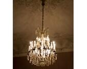 Paris Chandelier Photograph, Shabby Chic Paris Home Decor, Dreamy Chandelier Art - Illuminate