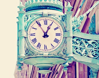 Mint Green Clock Chicago Architecture Chicago Photography, Vintage Pastels, Urban Decor, Chicago Print - Telling Time