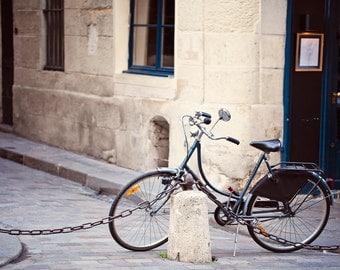 Paris Street Photography, Travel Art Print, Paris Bicycle Fine Art Photograph, Paris Home Decor - Parked in Paris