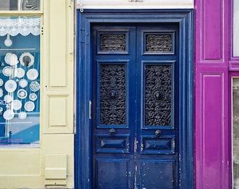 Bright Blue Paris Door Photography, Paris Print, Montmartre Paris, Travel Photography, Urban Decor - Montmartre Colors