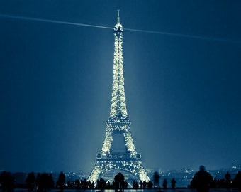 Eiffel Tower Paris, Paris Photography, Eiffel Tower print, Sparkling, Eiffel Tower decor, Indigo Blue, Paris decor - Because the Night