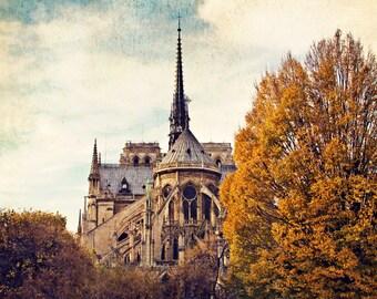 Fall Photography, Autumn Paris Print, Notre Dame Old World Gothic Cathedral, Vintage Paris Decor Art Print - Automne à Notre-Dame