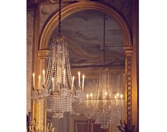 Paris Decor, Paris Photography, French Chandelier, Paris Fine Art Photograph, Glamourous Chandelier Art - Lustre de Fontainebleau