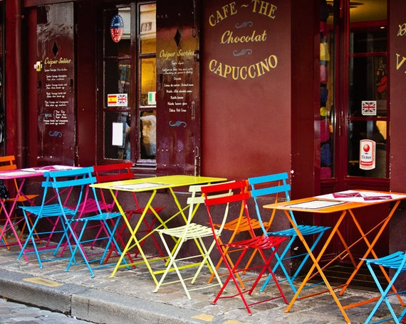 Paris Decor, Colorful Paris Bistro Cafe, Paris Photograph, Montmartre, Fine Art Photograph, Paris Print - Cafe Color