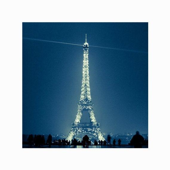 Eiffel Tower Photograph Sparkling At Night, Paris Decor, Tour Eiffel, Paris Photo - Because the Night