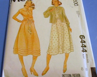 Vintage 1979 Dress and Unlined Jacket Pattern  6444