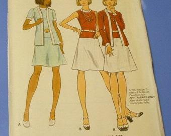 Vintage Seventies Low Waistline Dress and Jacket Pattern 3080