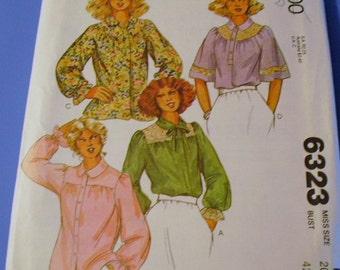 Ladies Round and Square Yoke Blouse Pattern 6323
